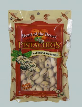Salted And Roasted Pistachios Four Ounce Bag
